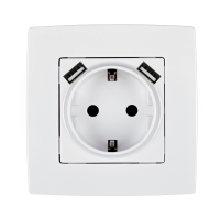 CITY GERMAN TYPE SOCKET WITH SCREW+ 2 USB WHITE
